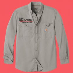 long sleeve work shirt with logo embroidered